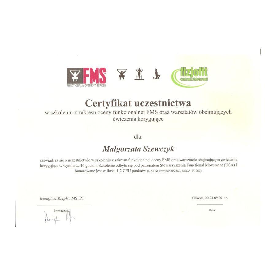 Certyfikat - FMS