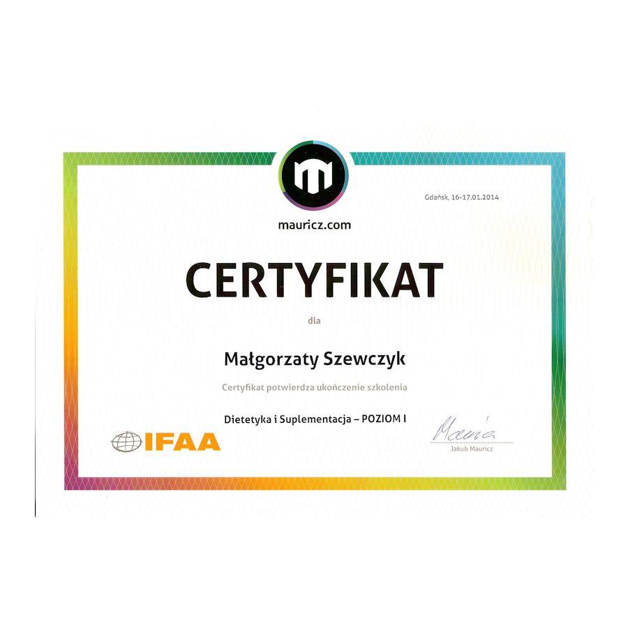 Certyfikat - dietetyka i suplementacja - poziom 1