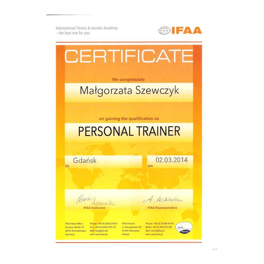Certyfikat - personal trainer