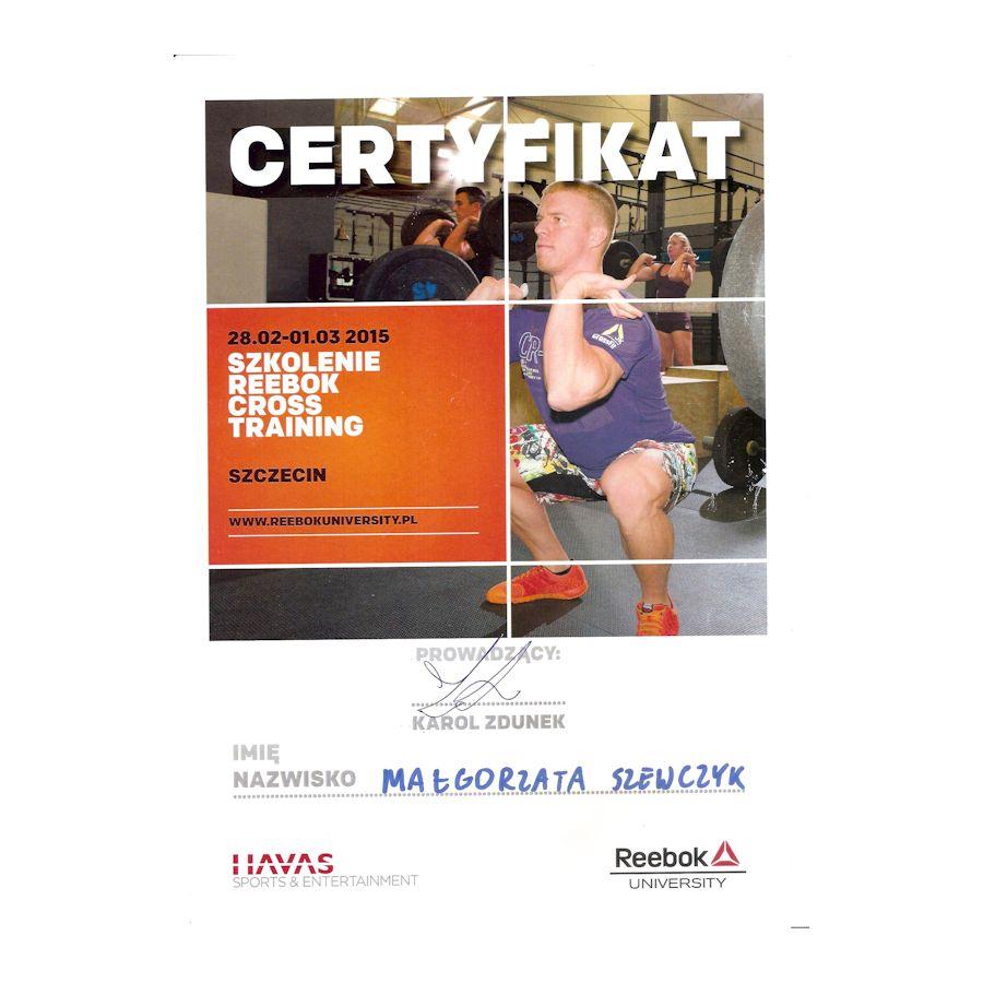 Certyfikat - reebok cross training