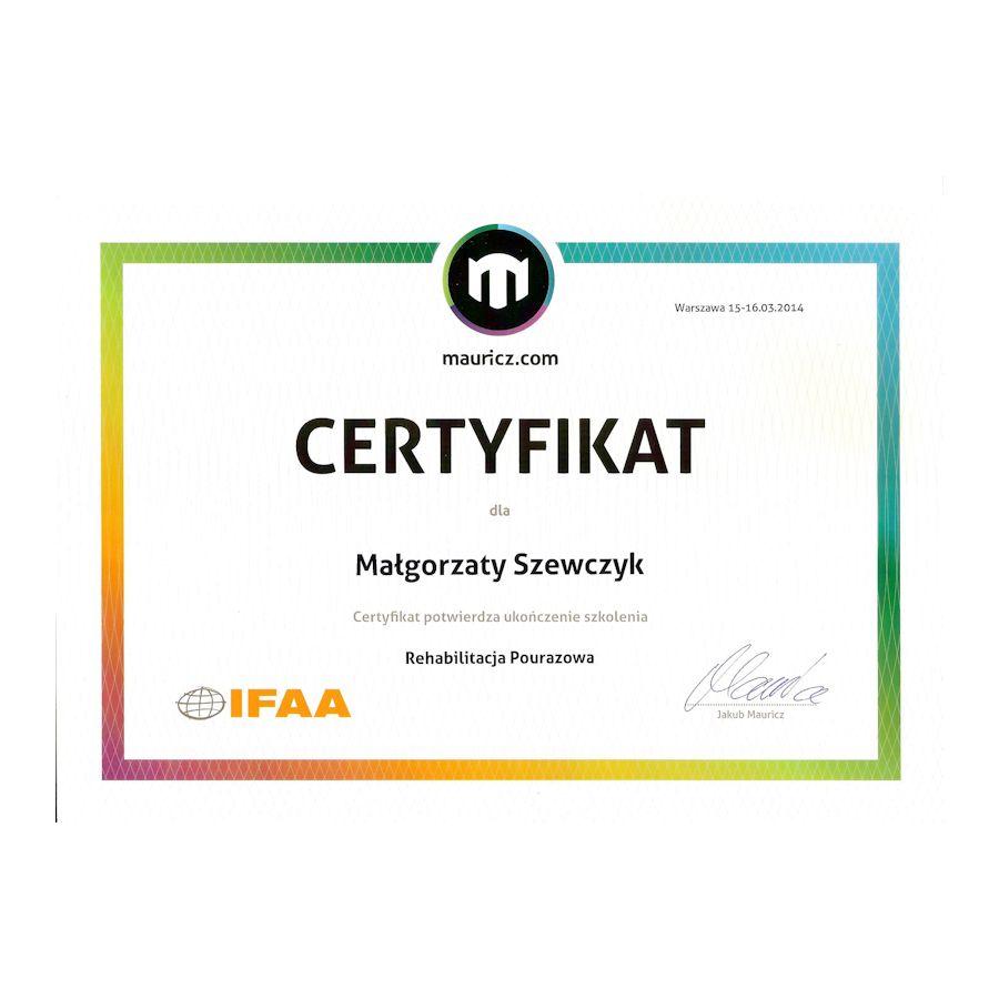 Certyfikat - rehabilitacja pourazowa