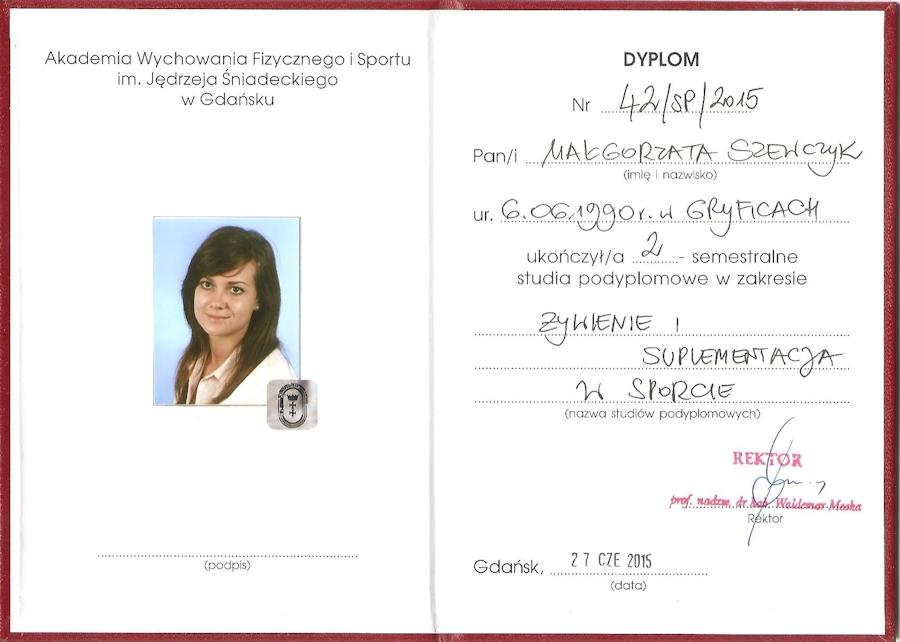 Dyplom - zywienie i suplementacja w sporcie