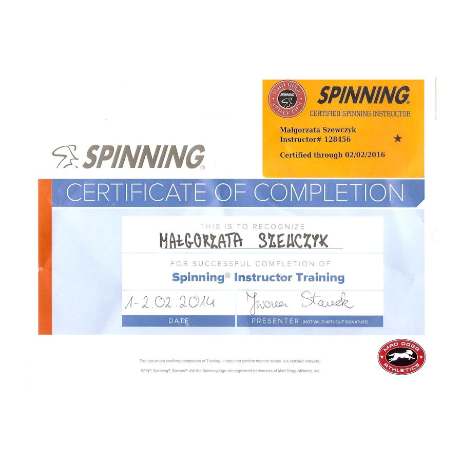 Spinning instructor training